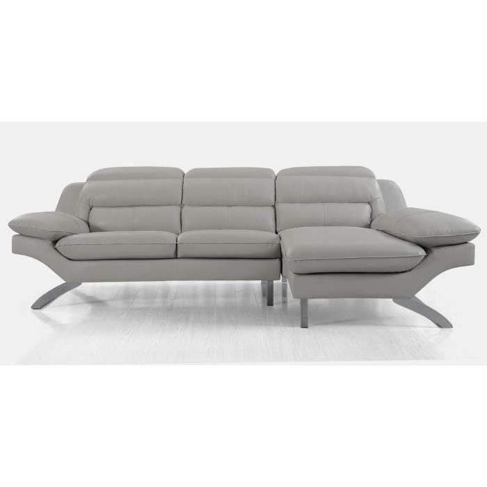 Canapé d'angle gauche en cuir PRIMA - Droit - Gris perle