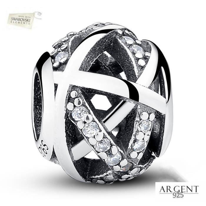MERRILL® Charms Bracelet Argent 925 Compatible Pandora Bracelet - Breloque sphère creuse en cristal avec élément Swarovski