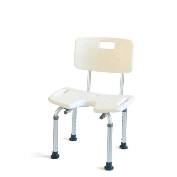 MILL'O SANTE Chaise de douche en U - Plastique ABS et aluminium léger - Blanc - Hauteur : 34 – 54 cm