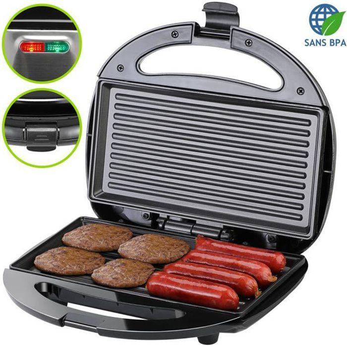 Grill électrique noir 750W appareil à sandwichs viandes saucisses témoins lumineux plaque antiadhésive grille-viande multifonction