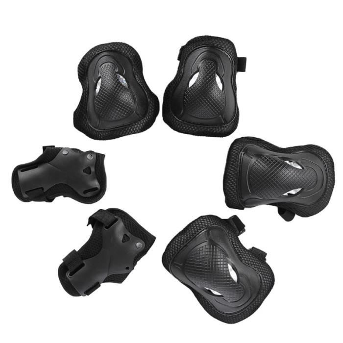 6 Pcs Sports Gear Protective Kit Genou Protecteur Coudières Protège-poignets Ensemble Taille Noir GANTS DE GARDIEN DE FOOTBALL