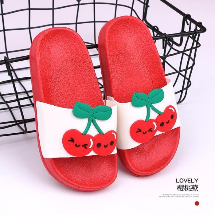 Enfant Pantoufles PVC Imprimé Cerise Pantoufles DE DÉTENTE pour la maison Rouge - TX16