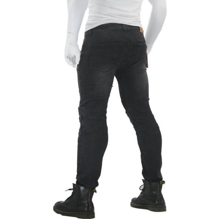 Pantalon de Moto Anti-chute avec équipement de Protection avec 4 Protections de Protection de la Hanche au Genou Noir
