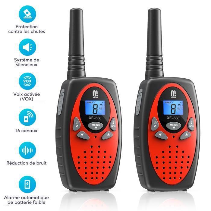 Talkies-walkies Enfant batterie 5km Portée PMR 446 MHz 10 tonalités d'appel, Volume réglable à 16 niveaux