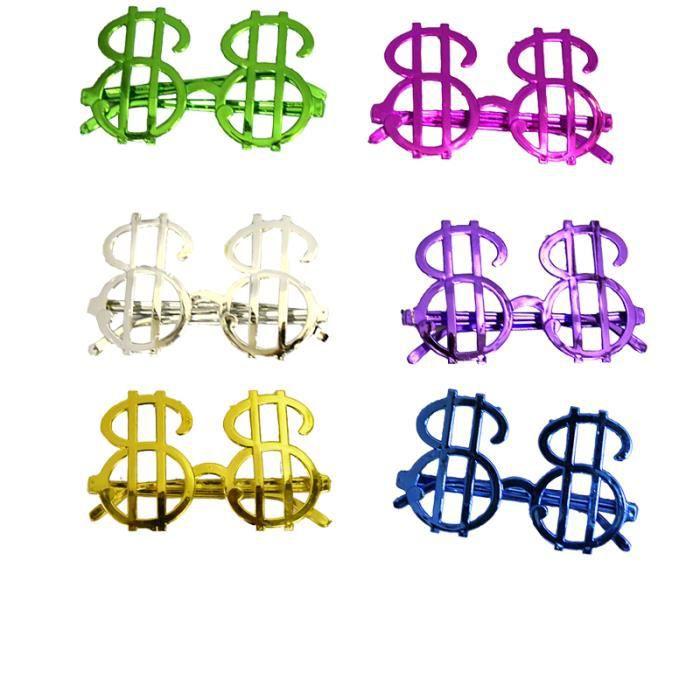 Lunettes dollar sans verres couleurs assorties