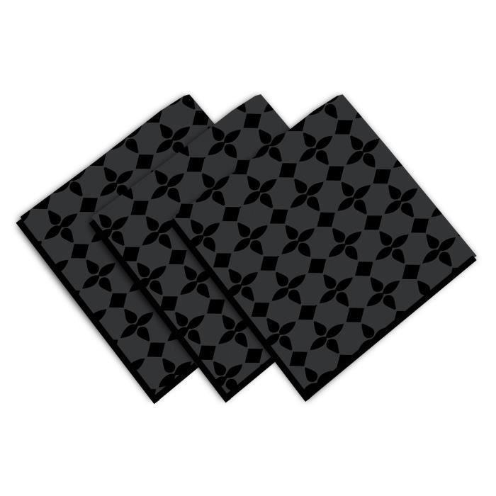 SOLEIL D'OCRE Lot de 3 servietes Damier - 100% coton - 45 x 45 cm - Noir