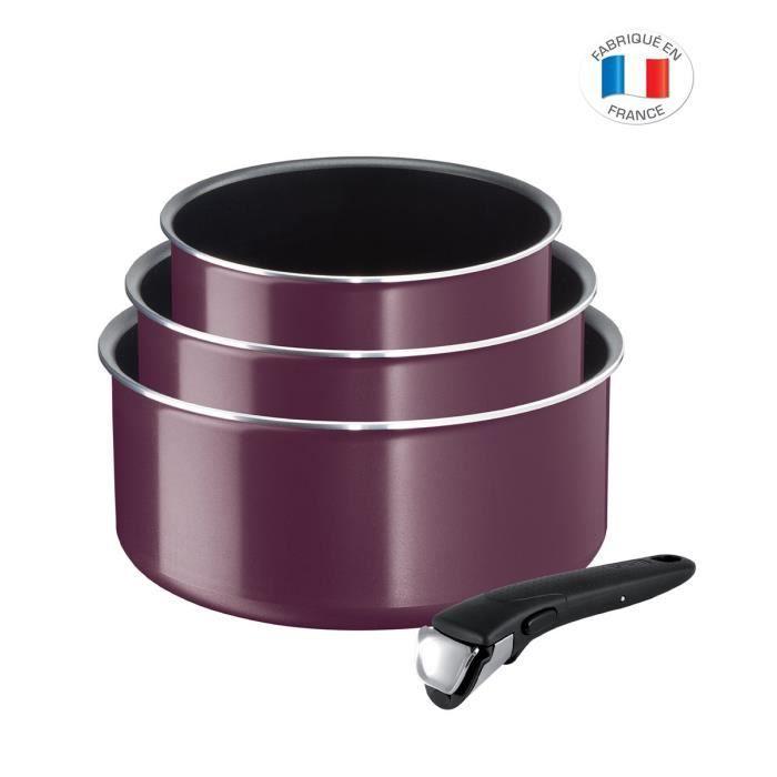TEFAL L2019102 Set de 4 Pièces INGENIO ESSENTIAL - Tous feux sauf induction - Fabrication française - Violet Byzantium