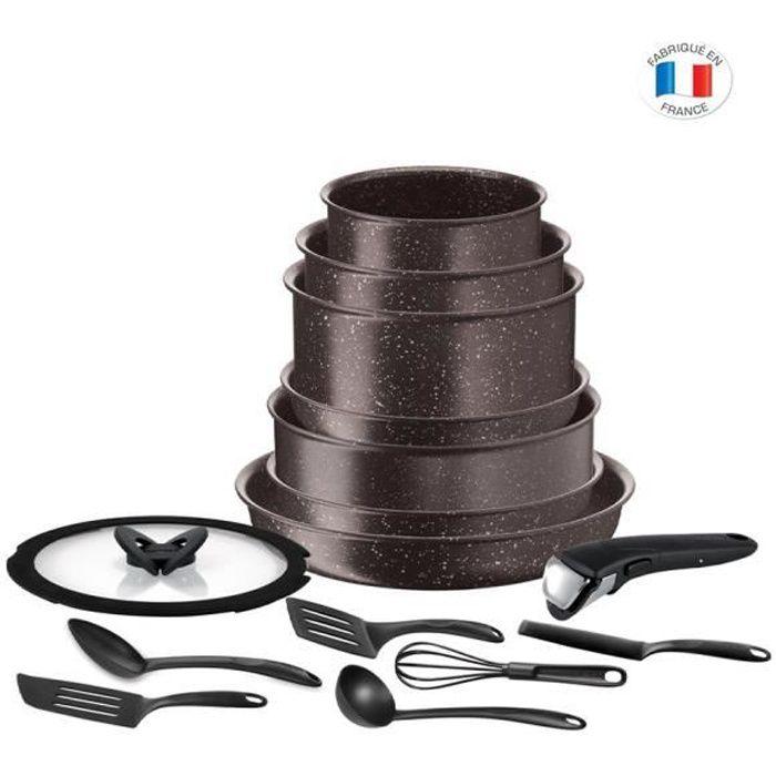 TEFAL L6789102 Ingenio extrême Batterie de cuisine 15 pièces - Marron effet pierre