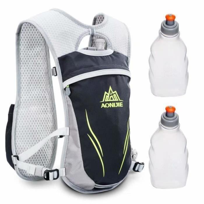BIR20238-Plein air Sport Piste Marathoner Fonctionnement Course Hydratation Gilet Pack Sac à dos avec 2 Eau Bouteilles - Gris