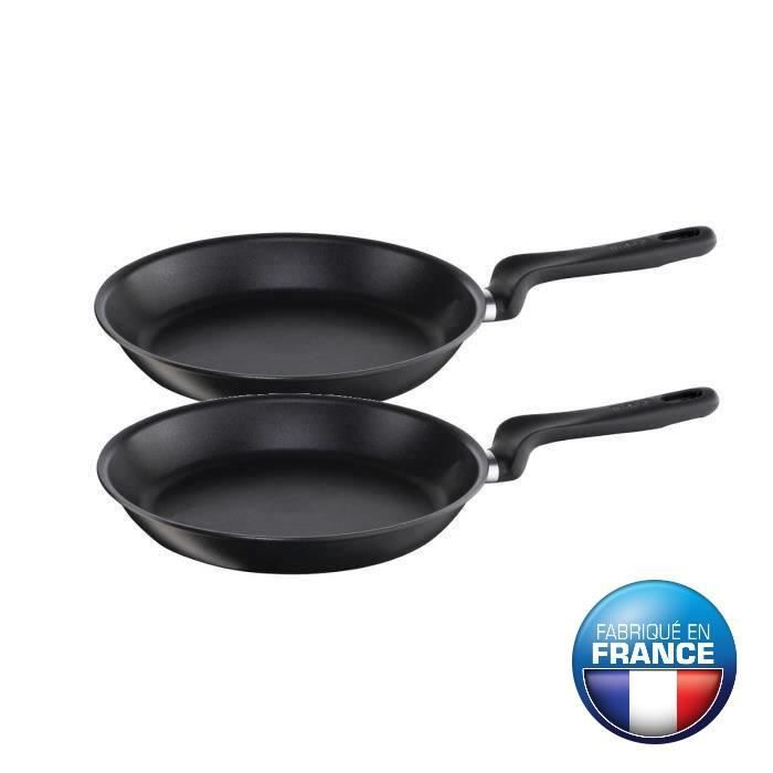 tefal set 2 po les initial ptfe induction 22 28cm noir achat vente po le sauteuse tefal. Black Bedroom Furniture Sets. Home Design Ideas