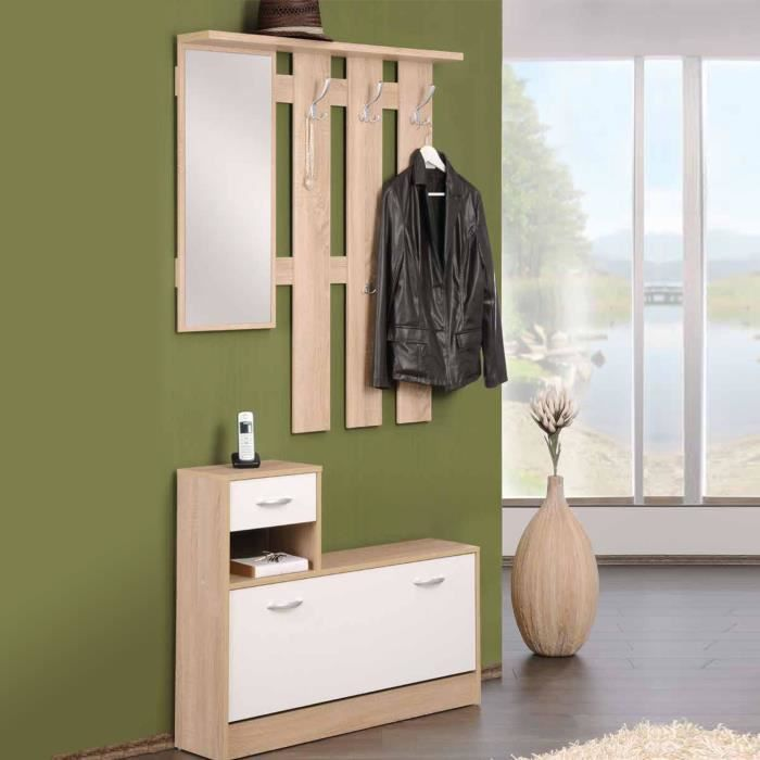 armoire vestiaire meuble d 39 entr e avec porte manteau. Black Bedroom Furniture Sets. Home Design Ideas