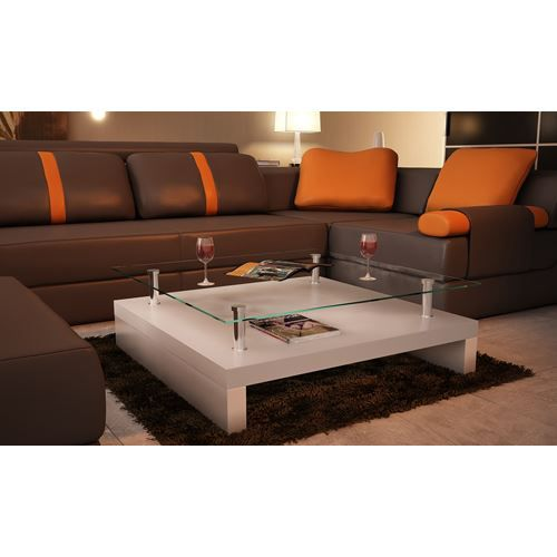 Table basse de salon carr e en verre et mdf bla achat - Tables basse de salon ...