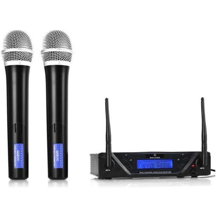 Set Microphones Micro Sans Fil VHF 2 Casques Wireless Evenementiel 2 Canaux