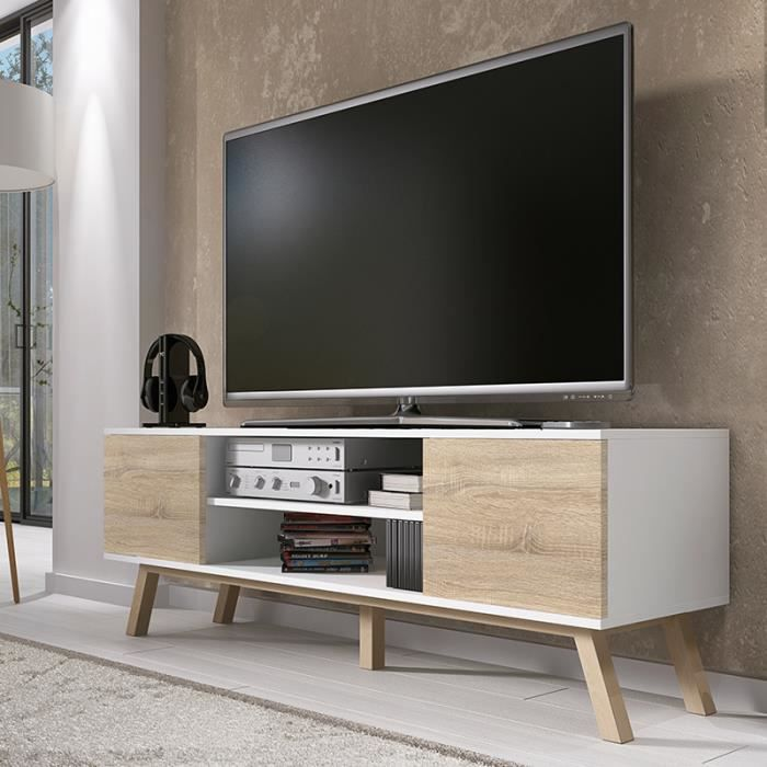 meuble tv vero bois blanc mat achat vente pas cher. Black Bedroom Furniture Sets. Home Design Ideas