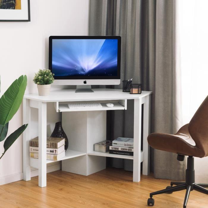 Costway Bureau D Angle Table D Angle Bureau D Ordinateur En Bois Pour Chambre Salon Bureau 120 X 60 X 77cm Blanc