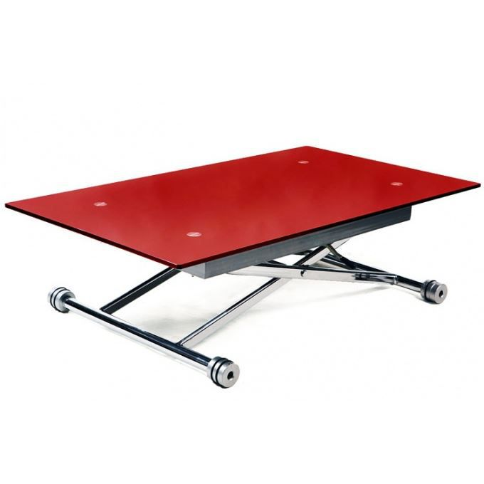 Table basse relevable rouge intelligente achat vente table basse table ba - Hauteur d une table basse ...