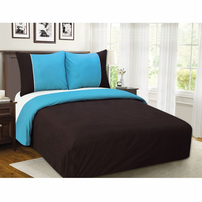 parure de lit chocolat turquoise. Black Bedroom Furniture Sets. Home Design Ideas