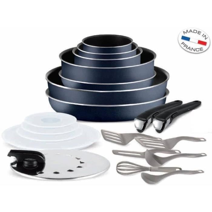 tefal ingenio 5 set 20 pi ces bleu nuit achat vente batterie de cuisine tefal ingenio 5 set. Black Bedroom Furniture Sets. Home Design Ideas