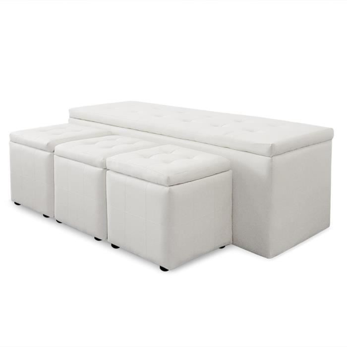 banquette coffre panky xl 3 poufs blanc achat vente banquette cdiscount. Black Bedroom Furniture Sets. Home Design Ideas