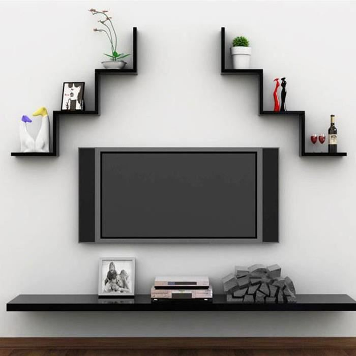 tag re murale biblioth que mural 80 15 15cm flottant dvd. Black Bedroom Furniture Sets. Home Design Ideas