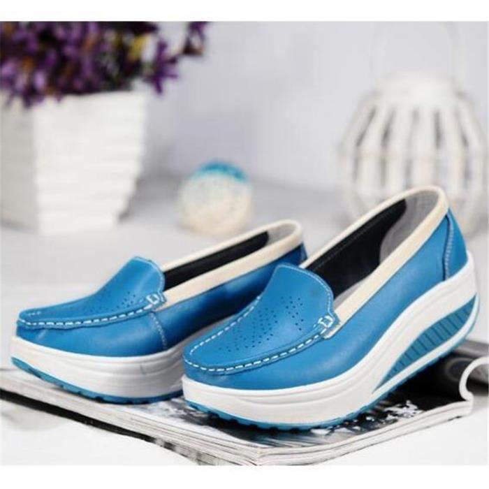 Chaussures Femmes Printemps ete Plate-Forme Chaussures LKG-XZ058Bleu40