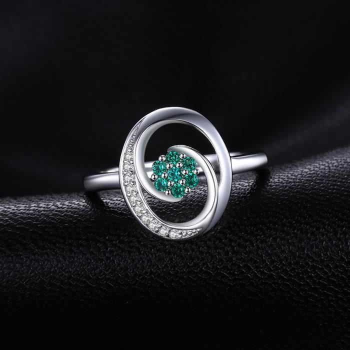 JewelryPalace Fashion 0.12ct Nano Russe Imitation Emeraude Bague en Argent 925