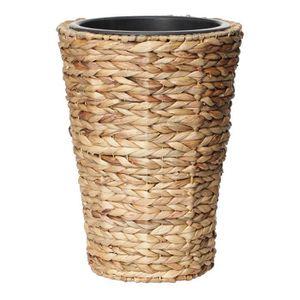 JARDINIÈRE - BAC A FLEUR Pot de fleur rond en jacinthe d'eau tressée - 30 x