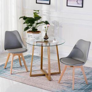 TABLE DE CUISINE  JKK Table Ronde  à Manger Scandinave,Plateau en Ve