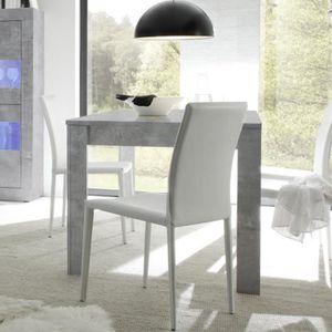 TABLE À MANGER SEULE Table extensible 140 cm effet béton gris clair des