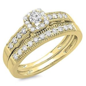 ALLIANCE - SOLITAIRE Bague Femme - Alliance Diamants 0.50 ct  18 ct 750