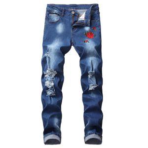 PANTALON Jeans homme de marque luxe Jean Broderie slim droi
