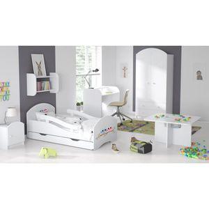 STRUCTURE DE LIT Lit enfant Blanc avec barrières, matelas, tiroir s