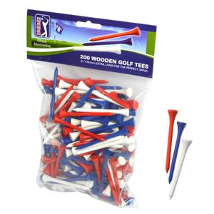 TEE DE GOLF PGA TOUR Lot de 200 Tees de Golf en Bois - 7 cm