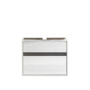 MEUBLE VASQUE - PLAN SOL Meuble sous vasque L 67 cm - Blanc mat et blan