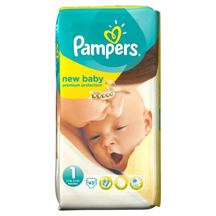 Pampers new baby taille 1 2 5kg 45 couches - Prix couches pampers new baby taille 1 ...