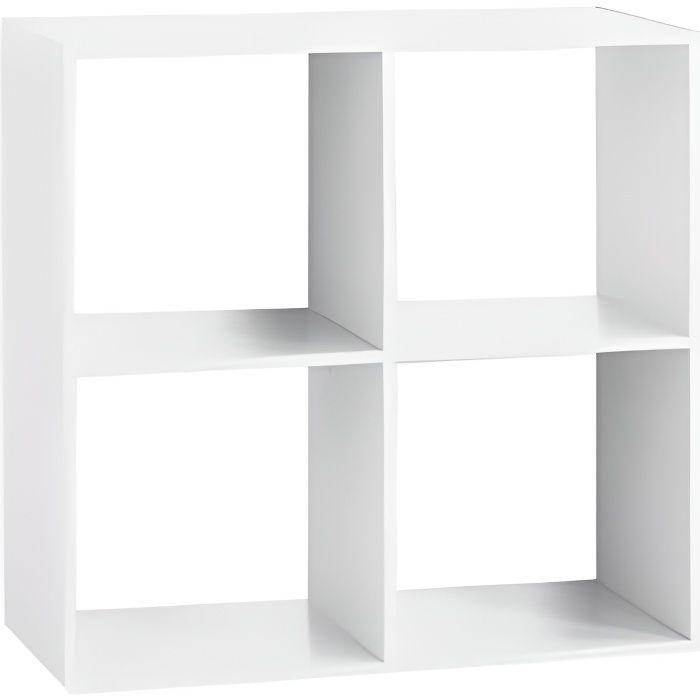 Etagère 4 cases - L 67,6 x P 32 x H 67,6 cm - Bois - Blanc