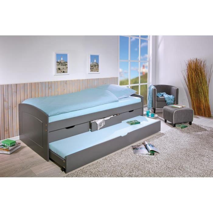 Chambre: lits & rangements - Lit simple à tiroirs Malte - 3 tiroirs de rangement et un tiroir lit - L 205 x l 98 x H 63 cm - Gris