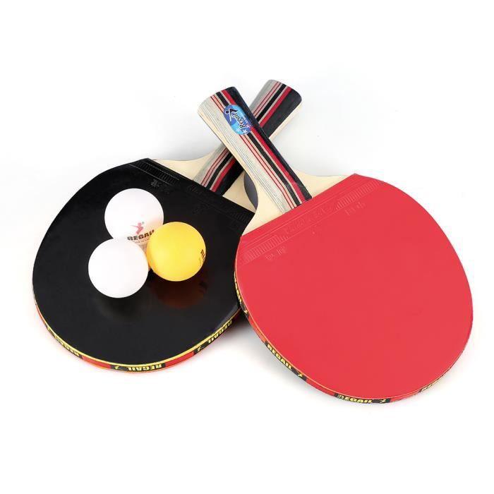 Raquette Tennis de Table, Set De Tennis De Table, 2 Raquette Ping Pong De Peuplier+3 Balle+1 Sac HB050 -LAI