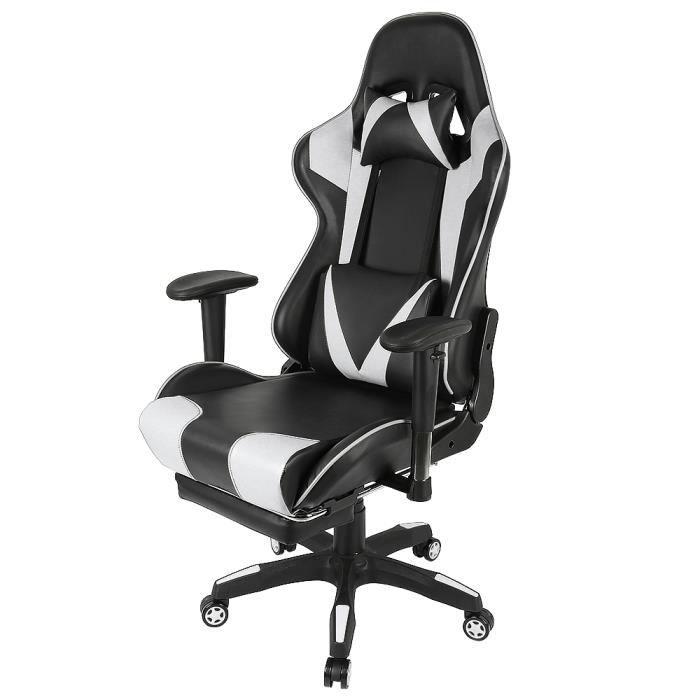 LUXS Chaise Gaming Fauteuil Bureau Design Ergonomique Fonction d'inclinaison Noir-Blanc