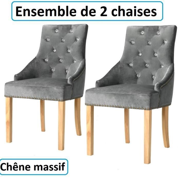 Lot de 2 chaises de salle à manger diner en velours Chêne Massif salon vintage Chateau moyen age epoque ensemble