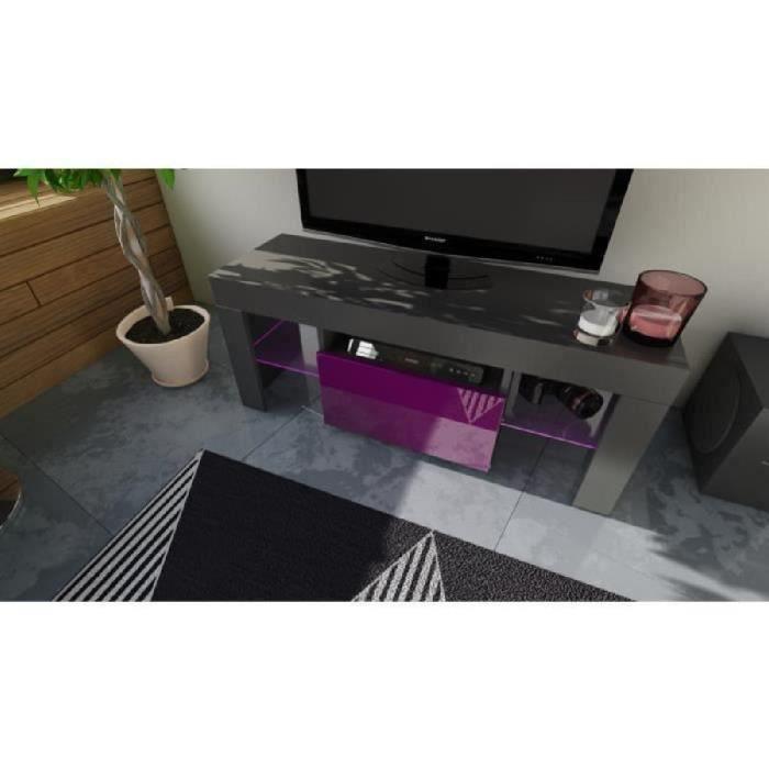 MEUBLE TV 110 CM Noir et Mûre avec LED RGB