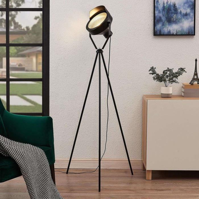 Lindby lampadaire pour salon et salle à manger Wikie en métal noir