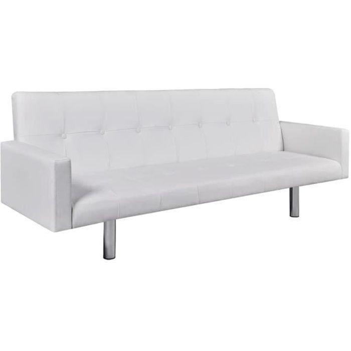 Canapé-lit canapé convertible avec accoudoir Cuir synthétique Blanc