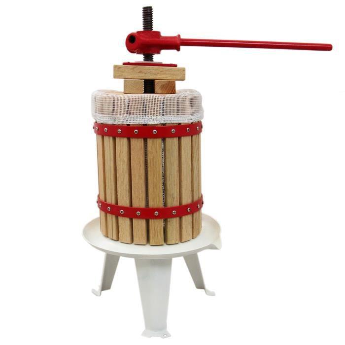 Pressoir à Fruits Traditionnel 12 Litres Chêne Préparation Moût Fabrication Jus de Fruit, Vins & Cidres