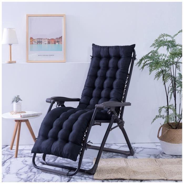 Coussin Bain de Soleil Jardin Pliable Anti-Dérapant Coussin Chaise Longue Epais Confort,48x170cm,Noir