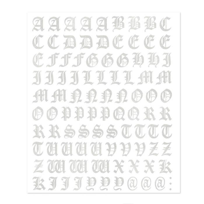 Kit Lettres Adhésives Gothique, Gris Argenté