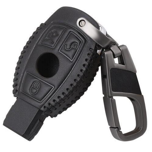 Coque clé,Étui en cuir pour clés de voiture Coque spéciale pour Mercedes benz CLS CLA R SLK AMG A B C S support pour - Type Black