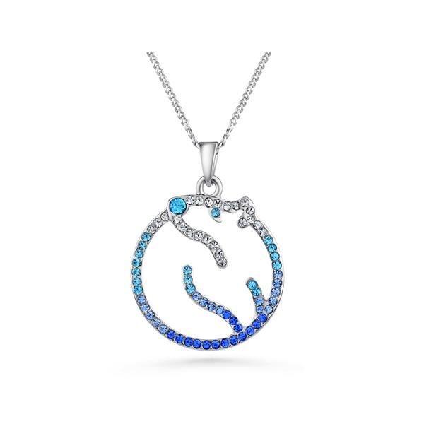 Pendentif Ours Polaire Cristal Swarovski Elements Bleu et Plaqué Rhodium