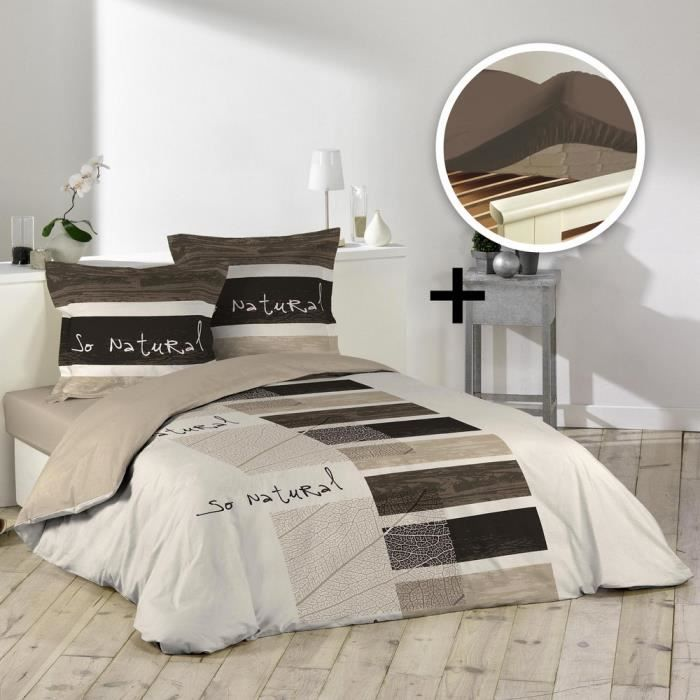 pack parure 1 housse couette 200x200 + 2 to 63x63 so natural + 1 dh 140x190
