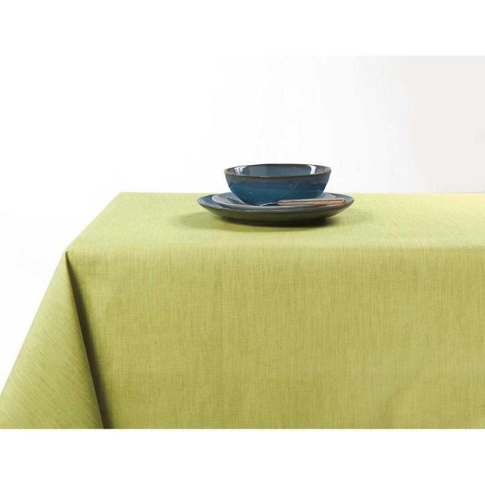 Nappe enduite anti taches aux couleurs acidulées Vert clair 150 x 200 cm